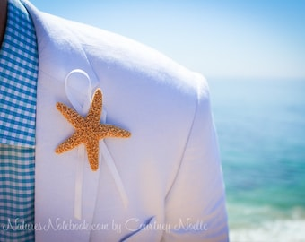 Unique Beach Wedding Starfish Boutonniere -  with 35 Ribbon Choices - Beach Lapel Pin - Groomsman Gift - Destination Beach Wedding