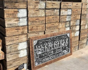 Set of 3 Old Wood Crates - Grape Crates - Fruit crates
