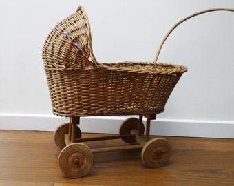 French vintage wicker DOLL carriage PRAM buggy⎮rattan wood⎮doll collectible⎮girl retro gift