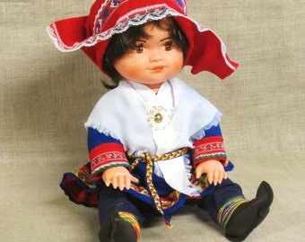 Vintage Norwegian Souvenir Doll, Norway, International, Small Female, European, Collectibles, Ethnic Costume, Hat, Traditional, Ornate,Cloth