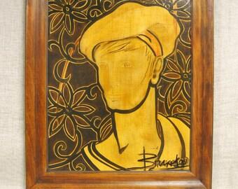 Male Portrait , Painting , Male Figure , Art , Fine Art , Handmade , Original , Framed , Portraiture , Man in Hat , Sailor , Floral , Flower