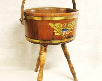 Wooden Planter , Wooden Bucket , Wool Bowl , Early American , Traditional , Bucket on Legs , Standing Bucket , Sewing Basket , Storage
