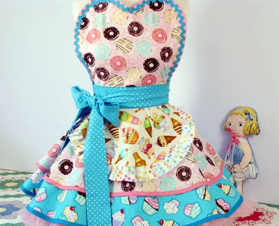 Donuts Cupcakes and Ice Cream Cones Sweet Apron by Dotties Diner ready to ship