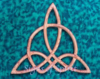 Celtic Triquetra of Harmony-Wood Carved Knot