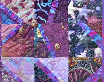 """Art Quilt """"STARWALKER"""" by Wen Redmond in Rich Purples"""