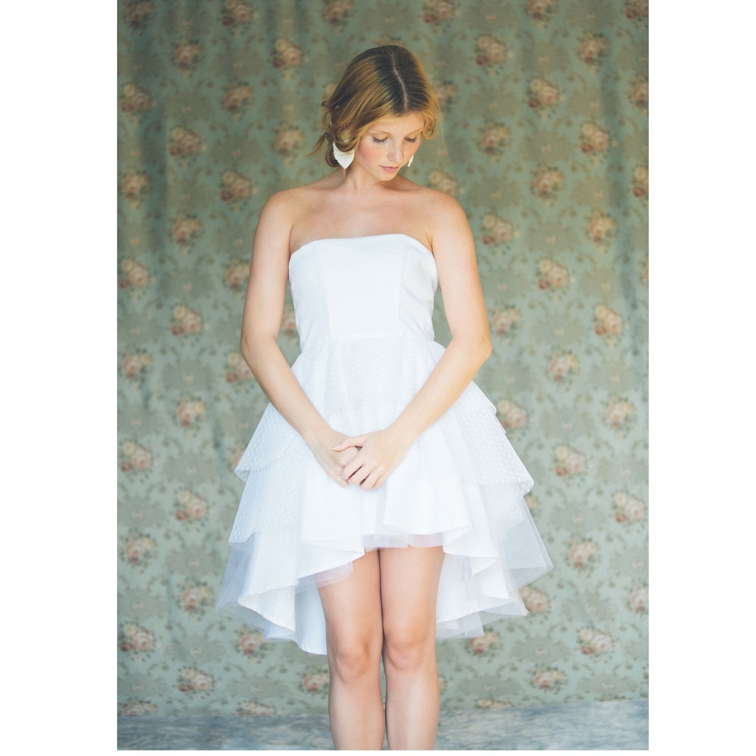 Short white strapless wedding dress tiered asymmetric tulle