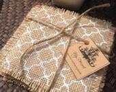 Burlap  fabric ~   Coasters set of 4 white lattice