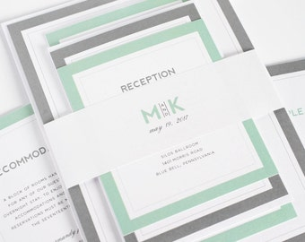 Gray and Jade Wedding Invitation - Unique, Romantic Wedding Invites - Modern Initials Wedding Invitations by Shine Invitations