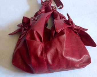 Awesome Vintage 80's Crimson Red Vinyl Purse with Bows & Grommets