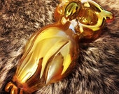 Gold Owl Hand Blown Glass Pipe