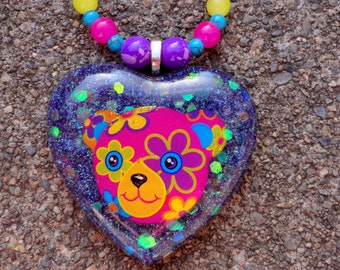 Lisa Frank Bear Vintage 90's Resin Heart Beaded Necklace, Psychedelic 60's Flower Power Necklace, Neon Bright Colors Hippie Glitter Necklace