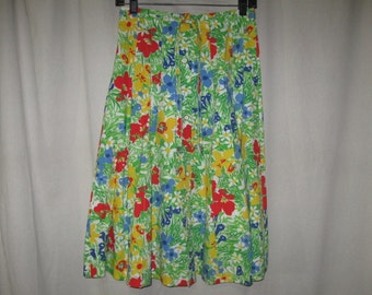 Vintage 70s 80s Bright Floral Pintuck Pleat Button Down Drawstring A Line Skirt Small