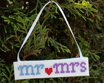 Handmade Mr & Mrs Cross Stitch Christmas Ornament
