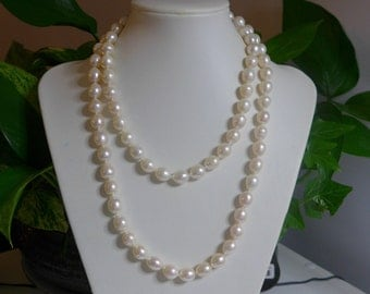 "WOW - 40"" Long Drop Pearl Necklace,11-13x10-11mm Hand Knot Fresh Water Pearl Necklace, Creamy White Teardrop Briolette Fresh Water Pearl"