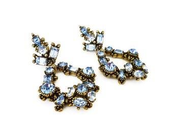 Hollycraft Earrings, Rhinestone Earrings, Powder Blue, Long Chandelier, Dangle Earrings, Vintage Jewelry