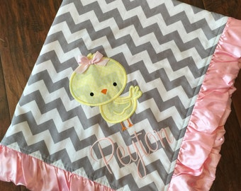 Personalized Baby Blanket- Chicken Baby Blanket- Chevron Minky Blanket- Chick Baby Blanket
