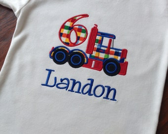 Personalized Boys Birthday Shirt- Big Truck Applique Birthday Shirt- Mac Truck Birthday Shirt