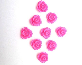 Hot Pink Cabochons -- Hot Pink Rose -- Wholesale Pink Flowers -- Hot Pink Flower Supply -- DIY Hot Pink -- Fuchsia Flower Cabochons -- Cab