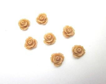 Tan Cabochons -- Light Brown Flower -- Tan Roses -- Tan Flower Supply -- Small Tan Flower -- Wholesale Tan Cabochons -- DIY Tan Cabochon