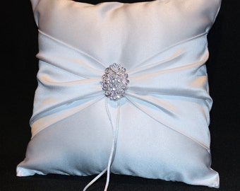 White or Ivory Wedding Ring Bearer Pillow Rhinestone Accent