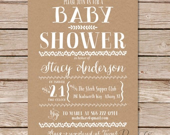 Rustic Baby Shower Invitations / printable baby shower invitation /  vintage baby shower invites / printable or printed