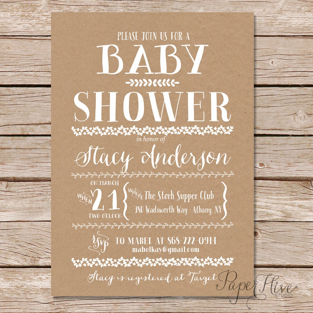 rustic baby shower invitations printable baby shower
