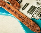 Custom Leather Guitar Strap - Acoustic or Electric - Western Floral Design - Hand Tooled and Painted