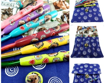 Crochet Hook Case with Set of Susan Bates Crochet Hooks, Handmade with Polymer Clay, Horse Design