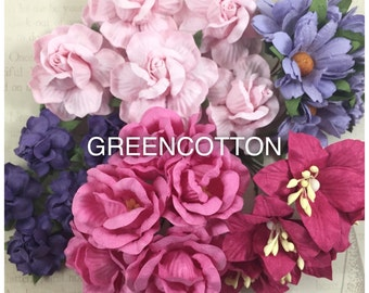 25 mixed Sweet Pink Purple mulberry paper flowers code  Pink/Purple-DA