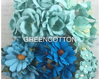 30 mixed Aqua mulberry paper flowers code  Aqua-LRS