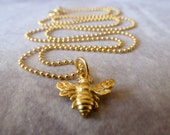 Gold Bee Necklace - Petite Bumblebee Necklace - Small 24K Gold Vermeil Bee Necklace - Gold Bee Jewelry