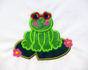 T-Shirt, Little Girls White CottonTee with Frog Wearing Sunglasses on Lily Pad Embroidered Applique