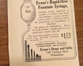 Circa 1905 Evan's Rapid Flow Fountain Syringe ad. 3 x 3 1/2. Original ad.