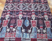 """Vintage Indonesian Sumba Ikat, Large Size 45"""" x 92"""", Tapestry, Throw, Textile, Tablecloth, Fabric, Natural Dye, Hand Woven, Bohemian"""