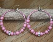 Dangle Hoop earrings, Pink Sandblast style