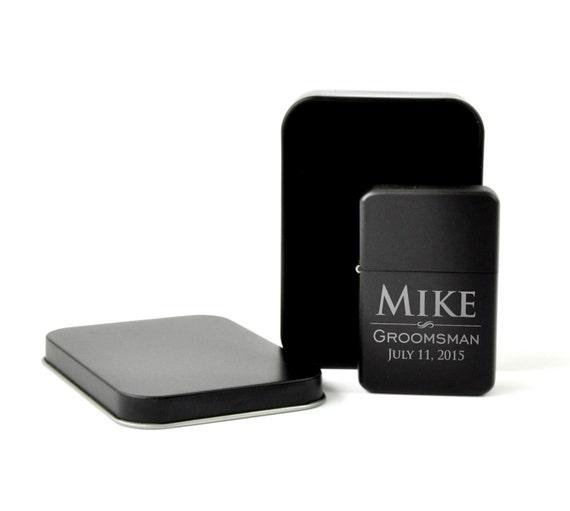 Personalized Lighter Matte Black Cigar Lighter Groomsman Best Man Gift