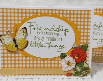 Handmade note cards, friendship notecards, orange checks, butterflies and flowers, yellow and red, set of four, Clearance