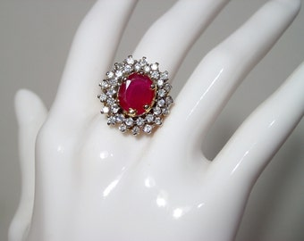 Gold plated genuine ruby cocktail ring ~ size 7.5 ~ with clear sparkly stones sapphire crystal ~ huge statement jewelry ~ authentic ~ solid