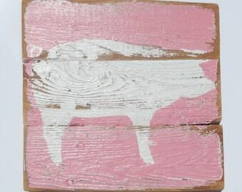 Farm Art, Pig on Reclaimed Fencing Wood