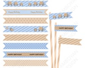 Elephant Bird Blue Brown  Printable Straw Flag , flower blue brown gold party birthday printable , - Instant Download