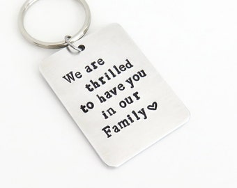 Wedding gift for son-in-law daughter-in-law Gift for groom bride from in-laws - We are thrilled to have you in our family keychain keyring