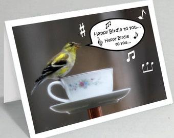 Funny birthday card - Funny bird birthday greeting - Cute card funny card - Happy Birdie to you card - Goldfinch card (Blank inside)