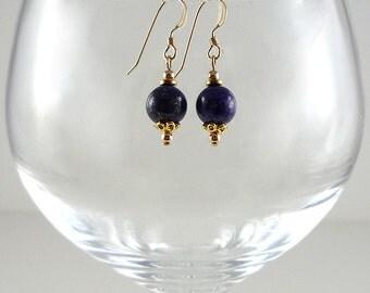 Lapis Earrings Gemstone Earrings Cobalt Blue Earrings Blue Lapis Earrings Lapis Gold Earrings Lapis Drop Earrings Dark Blue Bead Earrings