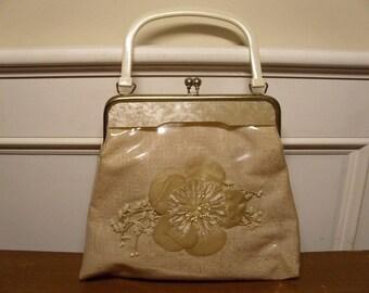 Vintage 1950's/1960's Vinyl Covered Floral Handbag