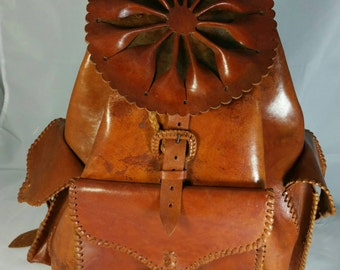 Large Brown Handmade Leather Backpack