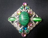 Fae Absinthe Bindi, re-useable bellydance / festival forehead gem, silver and green