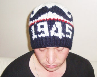 Born 1945 Birthday gift hat, Hand knit hat, Adult hat,  Personalized gift for men or women hat, winter hat, red, white, blue
