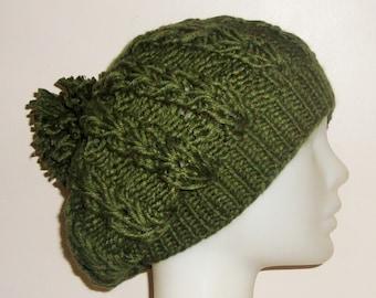Dark green beanie, Knit green beanie, Green hat women, Green winter beanie, Green knit beanie, Green winter hat, Women green beanie