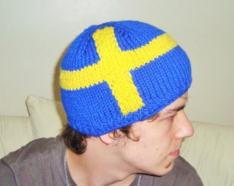 Sweden Flag Beanie Hat Hand Knitted for Teen Men Womens in Blue Yellow Swedish Gift