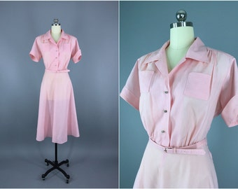 Vintage 1950s Dress / 50s Day Dress / 1950 New Look Dress / Pastel Pink Rhinestone Buttons Mid-Century Mad Men